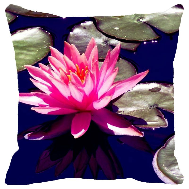 Buy Fabulloso Leaf Designs Pink & Blue Lotus Cushion Cover - 16x16 Inches online