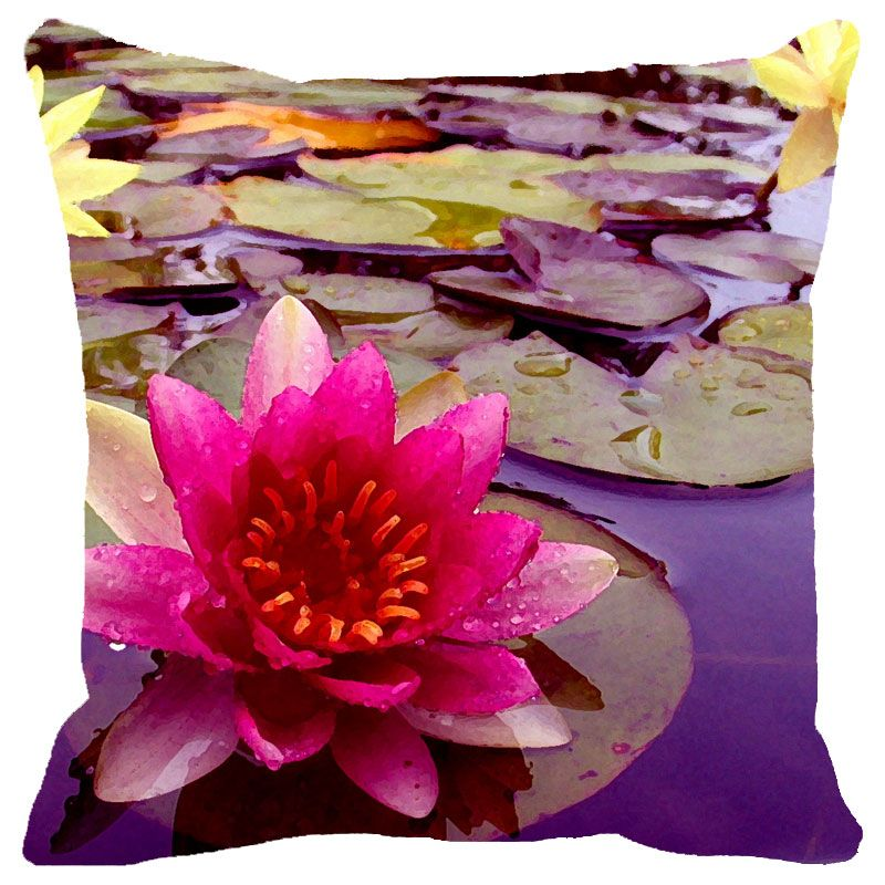 Buy Fabulloso Leaf Designs Pink Lotus Cushion Cover(a) - 18x18 Inches online