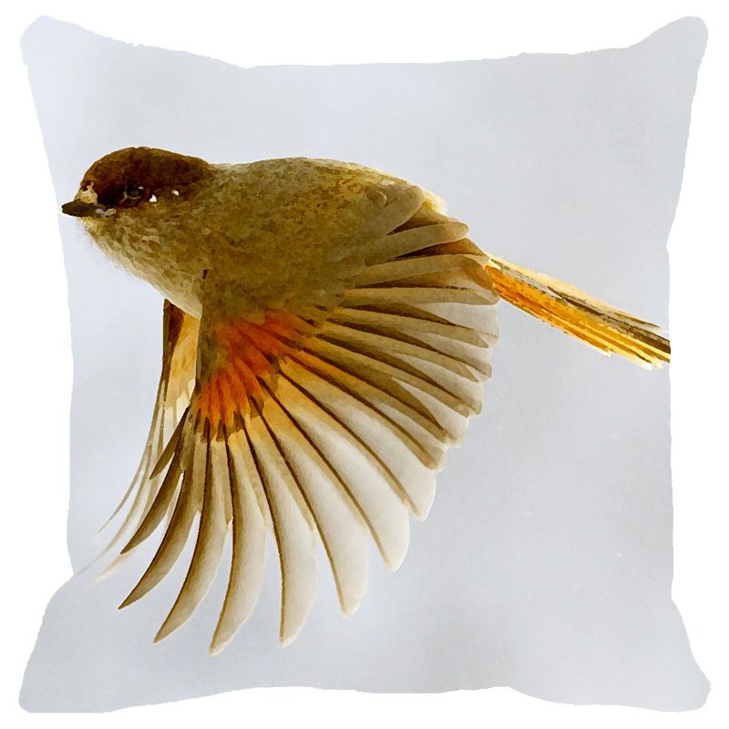 Buy Fabulloso Leaf Designs Yellow Flying Bird Cushion Cover - 8x8 Inches online