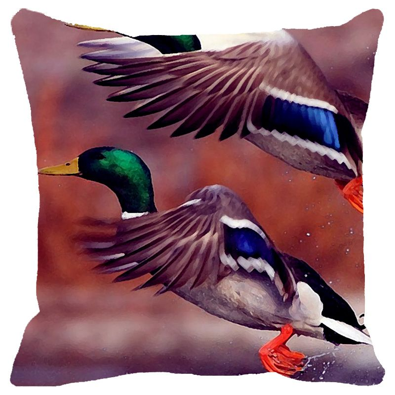 Buy Fabulloso Leaf Designs Blue Green Flying Bird Cushion Cover - 12x12 Inches online