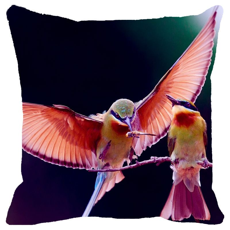 Buy Fabulloso Leaf Designs Shaded Flying Bird Cushion Cover - 18x18 Inches online