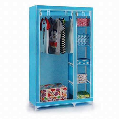 Buy Sky Blue Foldable Wardrobe Cupboard Almirah online