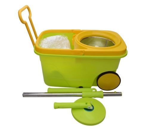 Buy Easy Spin Mop With Wheels And Stainless Steel Bucket With 2 Mop Head online