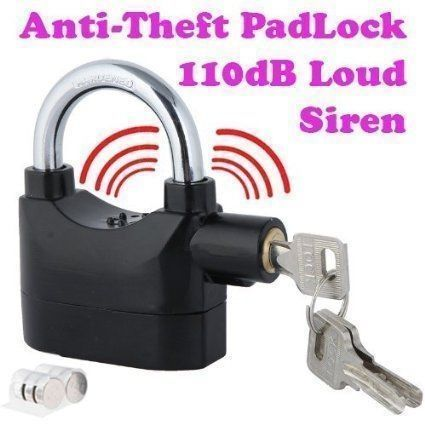 Buy Sk Web Theft Burglar Pad Lock Alarm Security Siren Home Office Bike Bicycle Shop online