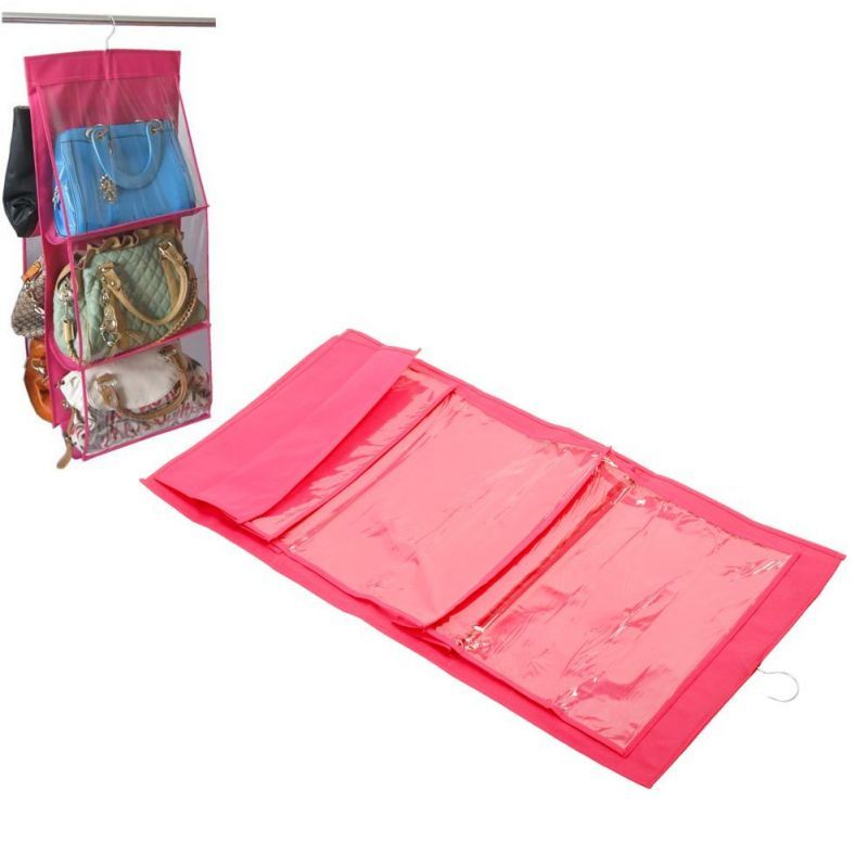 Buy 6 Layer Creative Bag Wardrobe Hanger Pouch Pocket (rose Red) online