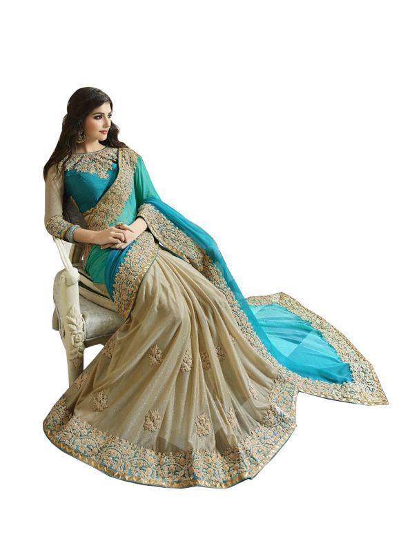 Buy Adorn Fashion Sky Blue & Off White Georgette Heavy Embroidery Designer Saree online