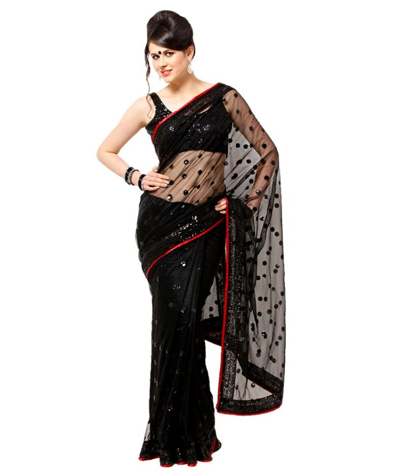 Buy Styloce Black Net Designer Saree With Blouse online