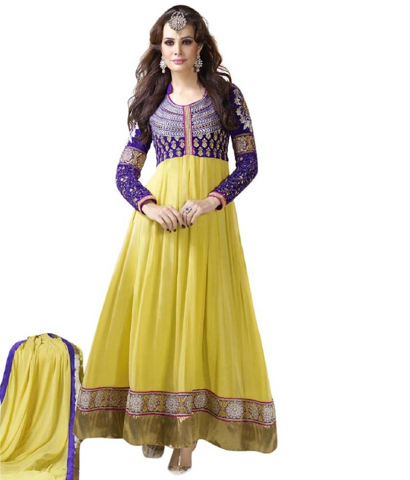 Buy Styloce Yellow Color Pure Georgette Fabric Embroidered ...