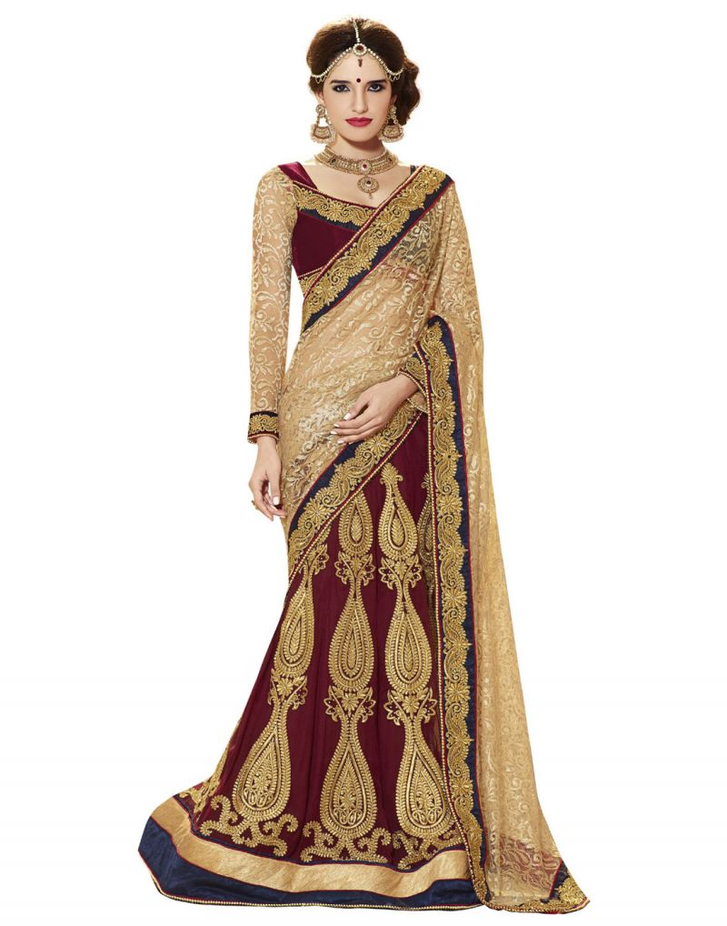 10fc93e7c8f45 Buy Styloce Beige Red Color Jacquard Net Velvet Fabric Embroidery Stone  Work Designer Party Wear Saree
