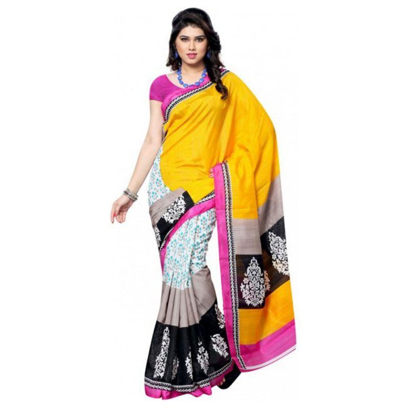 Buy Styloce Yellow Art Silk Saree.sty-8648 online