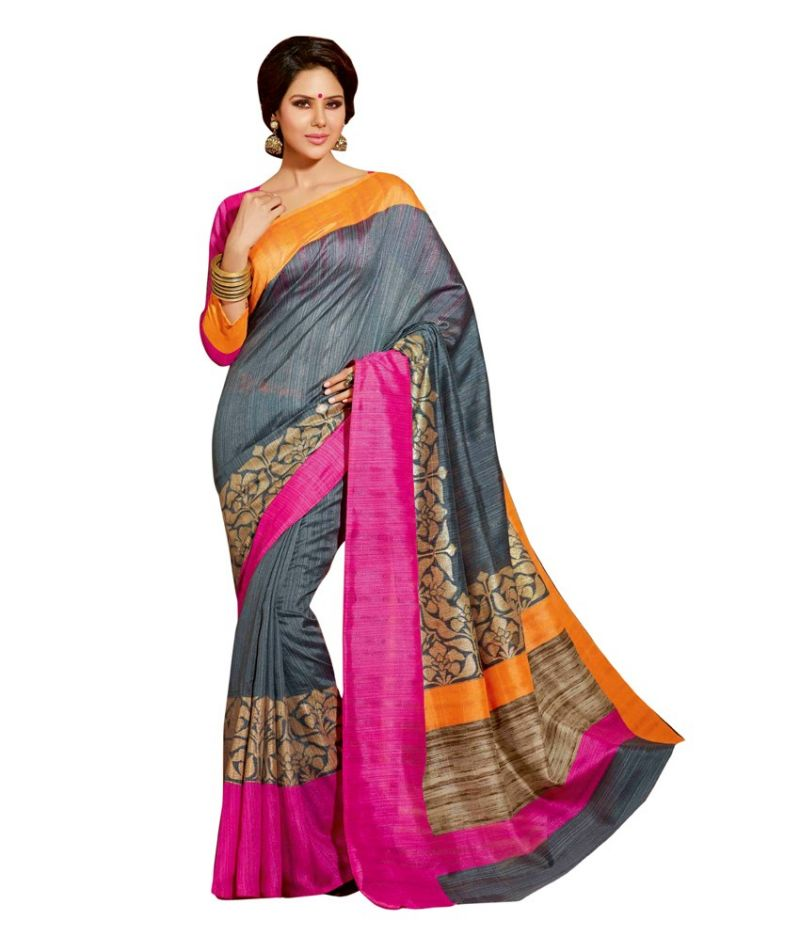 Buy Styloce Grey Color Art Silk Printed Casual Deasigner Saree With Blouse online