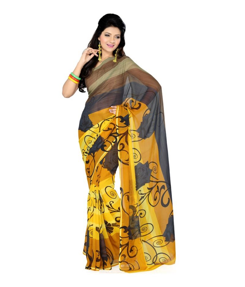 Buy Styloce Yellow Color Denim Self Design Self Design Deasigner Saree With Blouse-(code-sty-8797) online