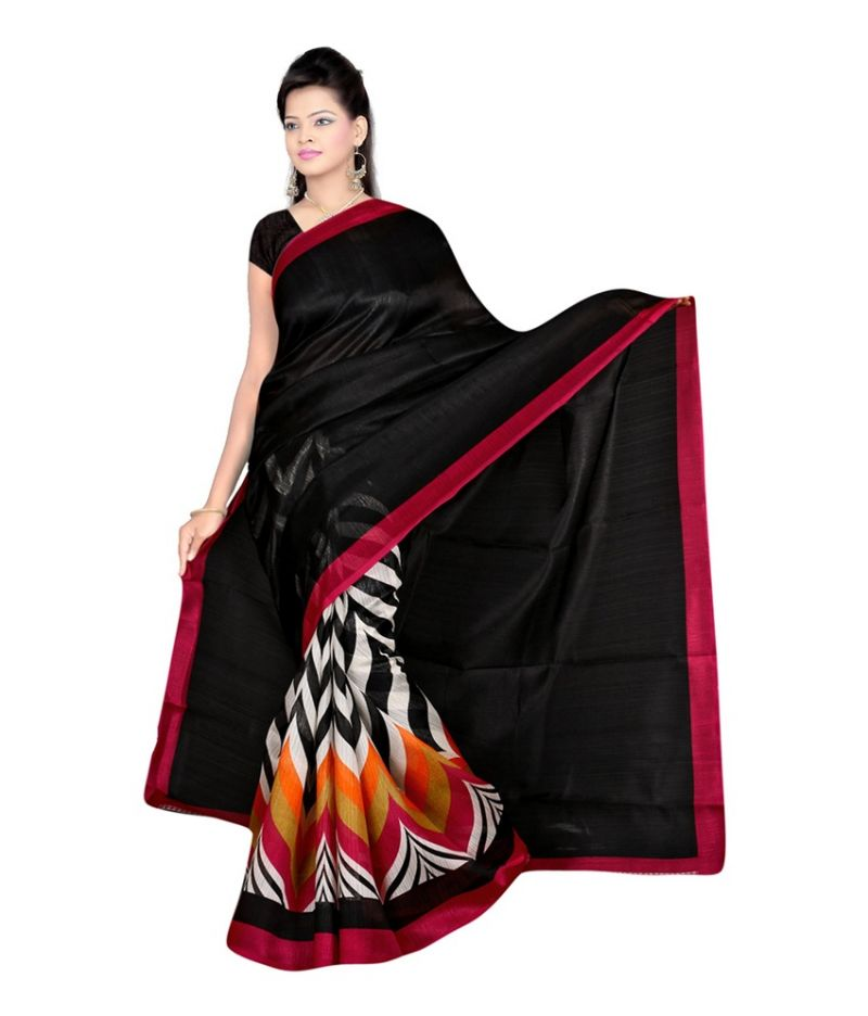 Buy Styloce Black Color Art Silk Printed Casual Deasigner Saree With Blouse online