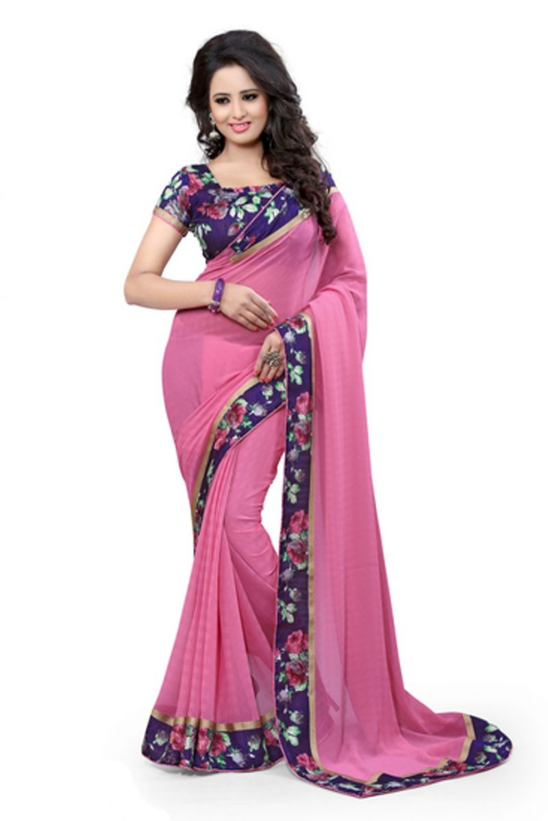 Buy Styloce Pink Georgette Saree online