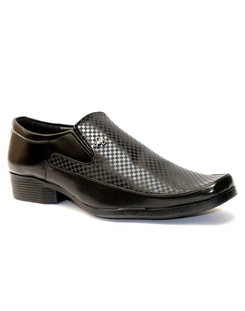 Buy Guava Black Synthetic Leather Textured Men