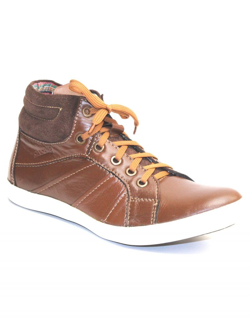 Buy Guava Brown Genuine Leather Men's Casual Shoes online
