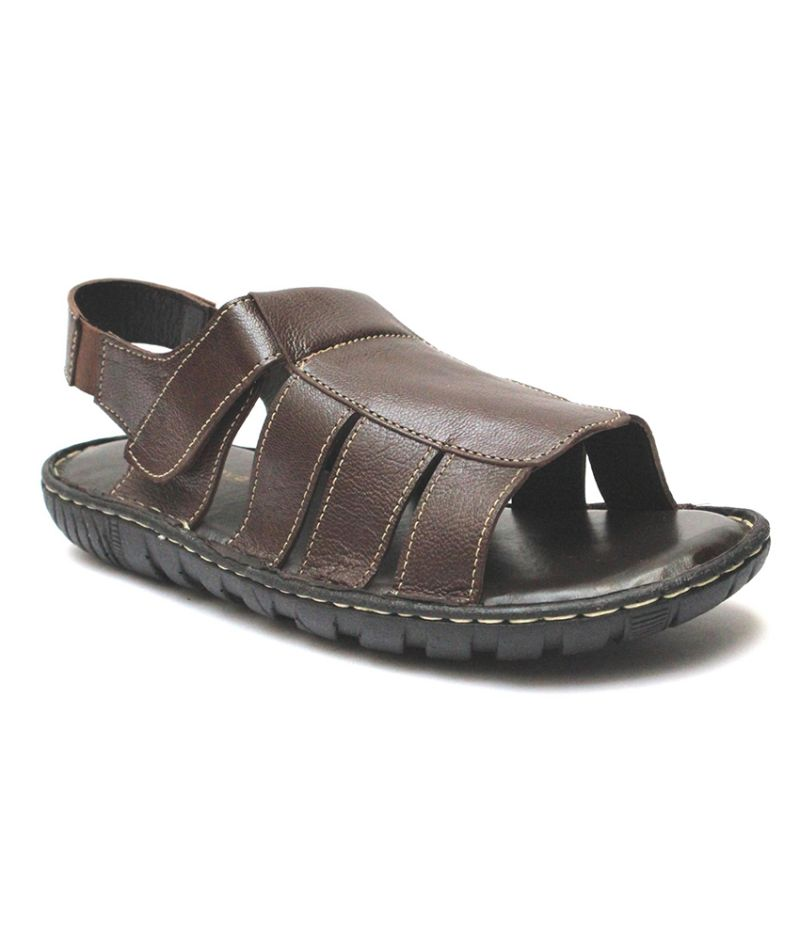 Buy Guava Brown Burst Leather Sandals for Men online