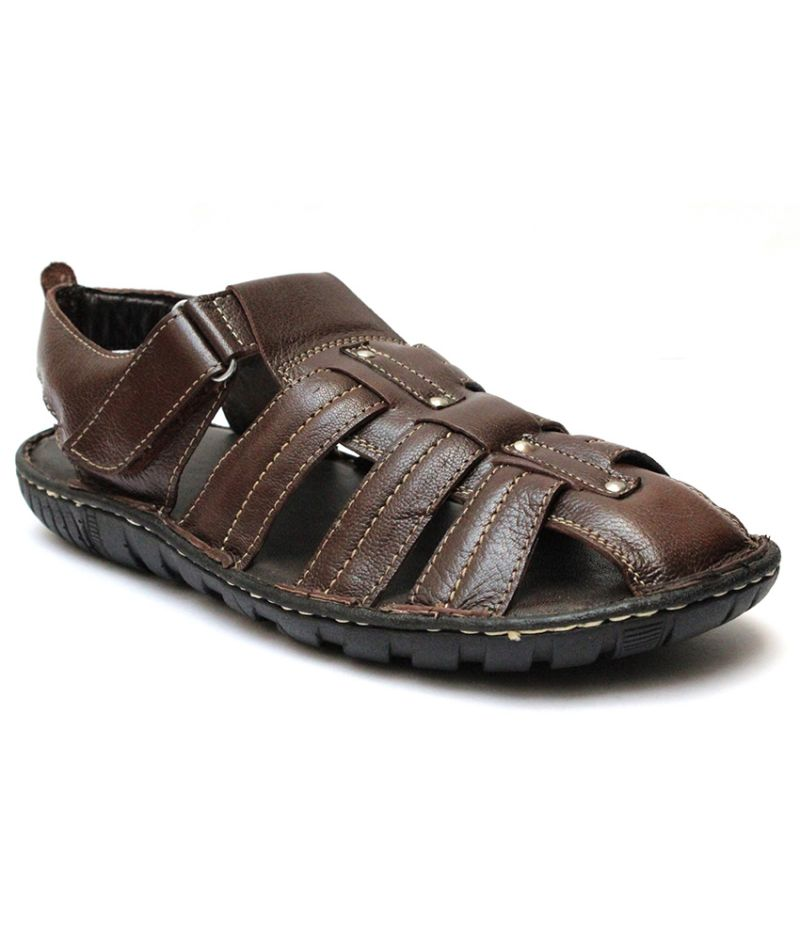 Buy Guava Brown Leather Sandals for Men online