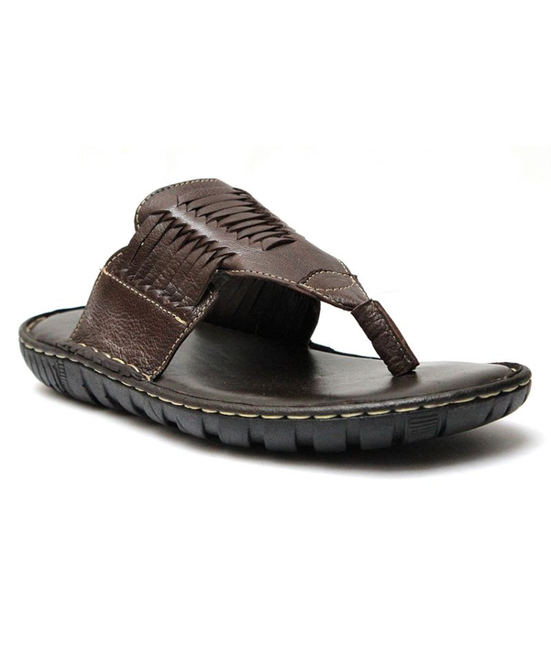 Buy Guava Brown Leather Slippers for Men online