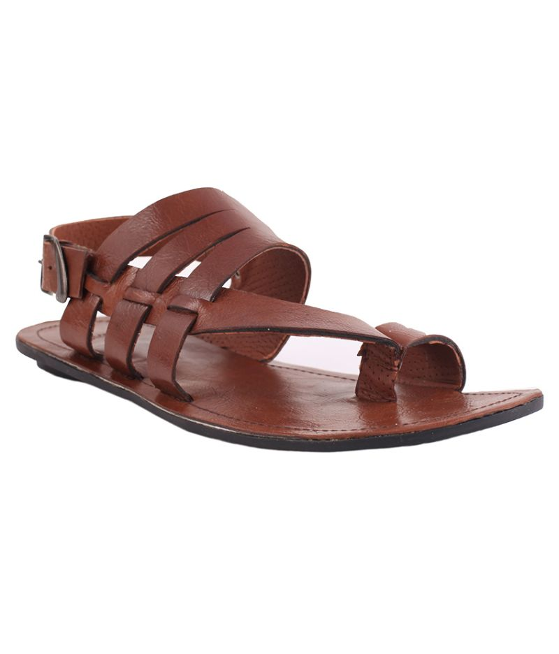 Buy Guava Brown Leather Sandals online