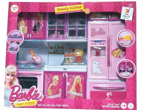 Buy Barbie Set Of 3 Beautiful Vogue Kitchen Set With Sound Online Best Prices In India Rediff Shopping