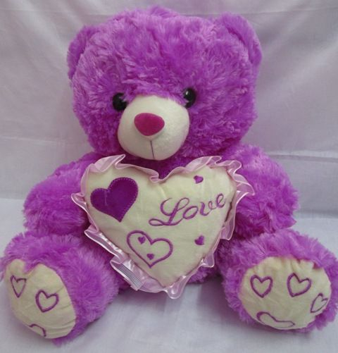 Cute Purple Teddy Bears Hearts