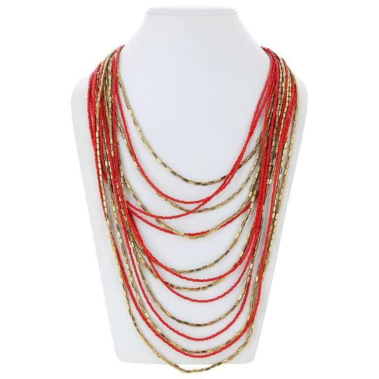 Buy Adbeni Multi Chain Coral Glass Beads Long Statement Handcraft Necklace-adb-007 online