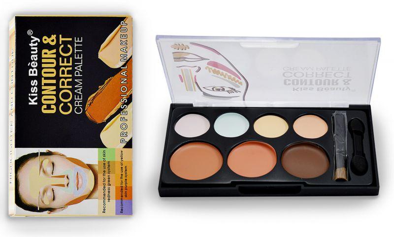 Buy Kiss Beauty Contour & Correct Cream Palette With Liner & Rubber Band-mtrt-(code-kb-9737-cnlsr-lt28-m-eylnr-fl) online