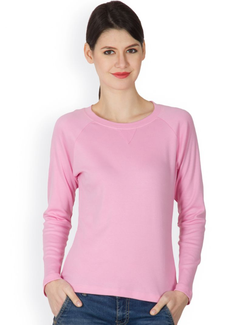 Buy Hypernation Pink Color Round Neck T-shirt For Women Online ...