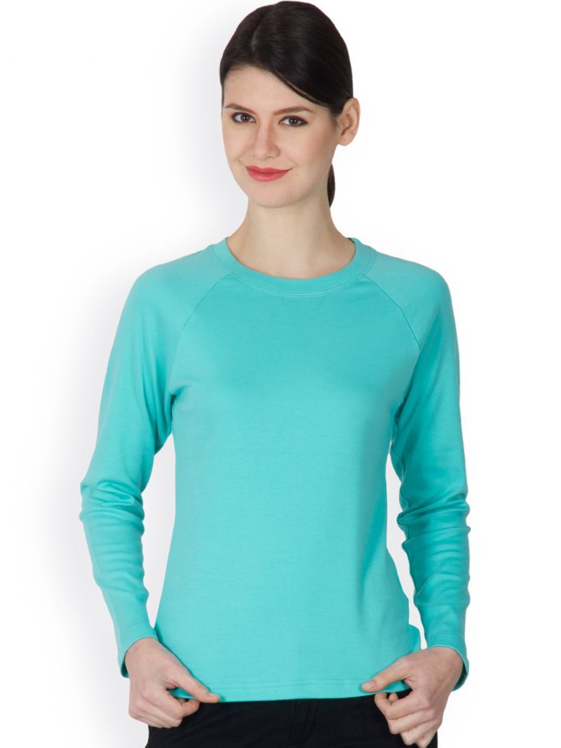 Buy Hypernation Turquoise Color Round Neck T-shirt For Women online
