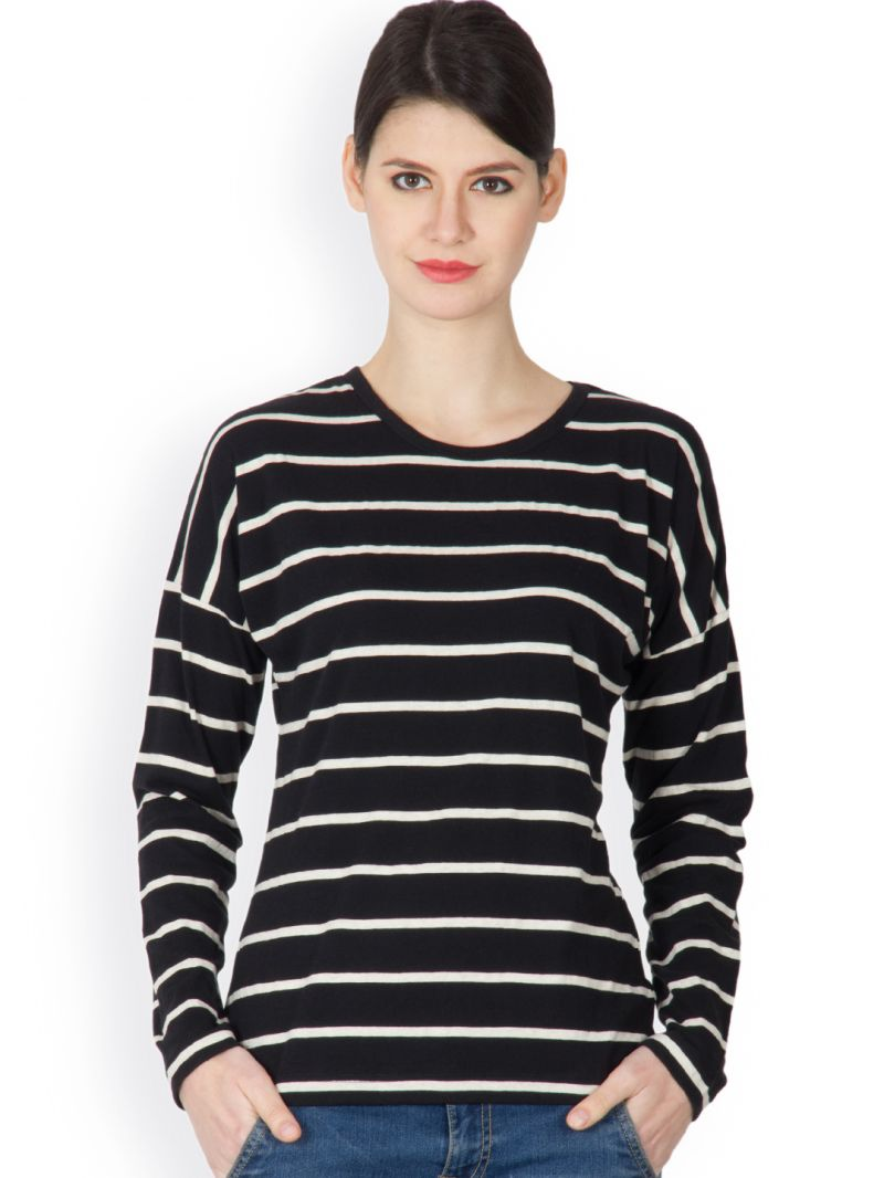 Black t shirt for ladies - Buy Hypernation Black And White Color Striped Round Neck T Shirt For Women Online