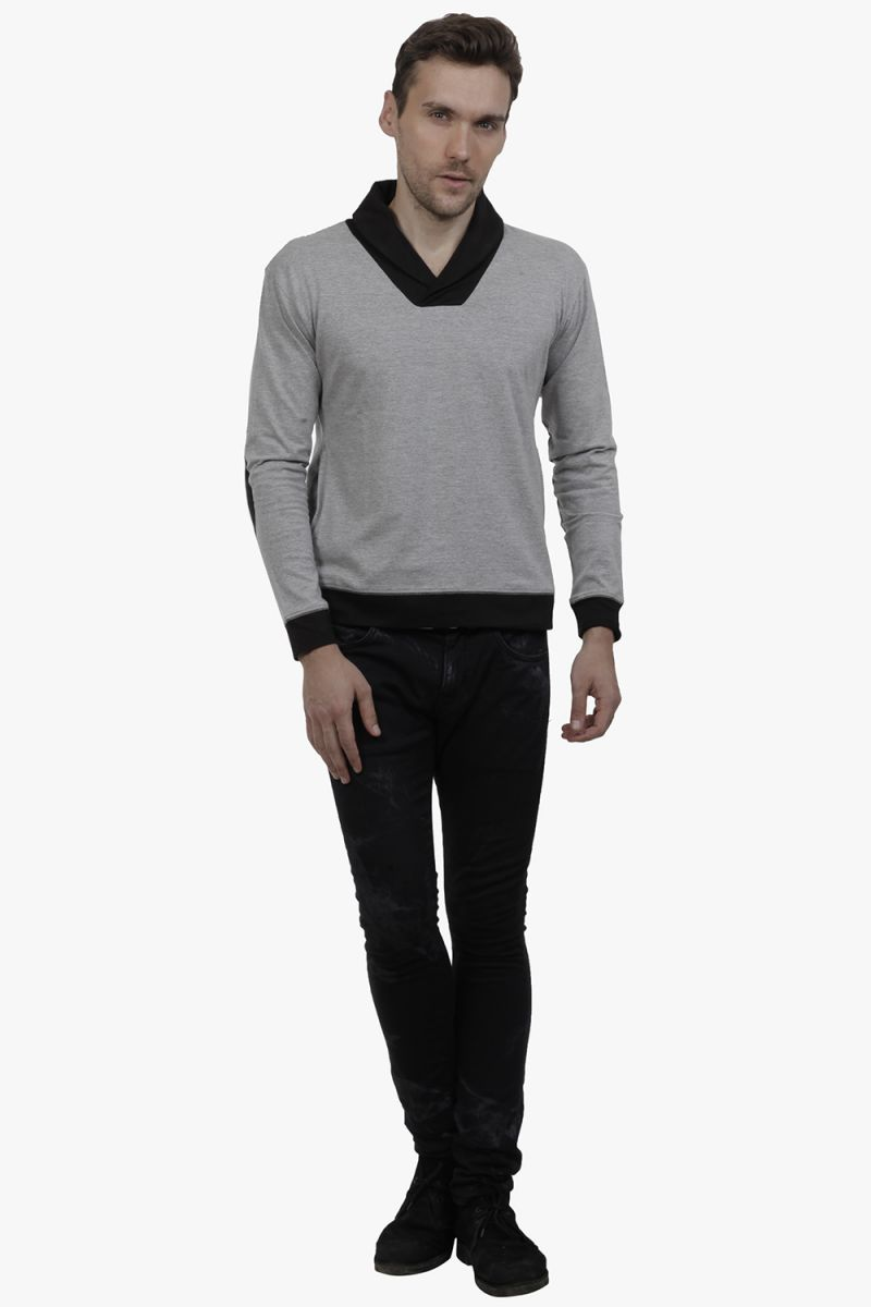 Buy Hypernation Grey And Black Drapped Neck Cotton T-shirt online