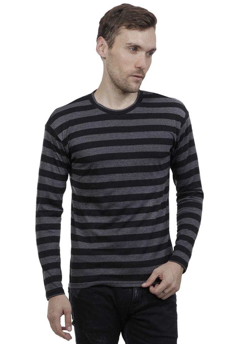 Buy Hypernation Black And Grey Stripe Round Neck Cotton T-shirt online