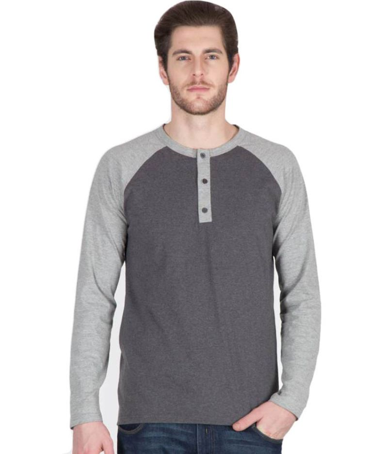 Buy Hypernation Dark Grey Color Henley Neck Cotton T-shirt For Men ...