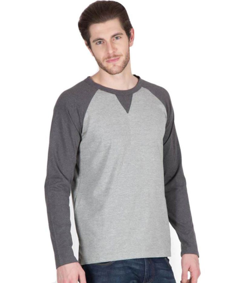 7590bea1b52 Buy Hypernation Grey Full Sleeve Round Neck T-shirt Online