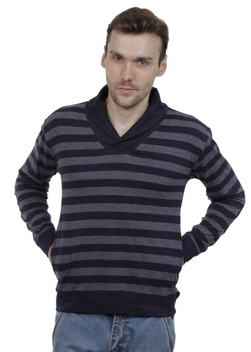 Buy Hypernation Navy And Grey Stripe Shawl Collar Cotton T-shirt online