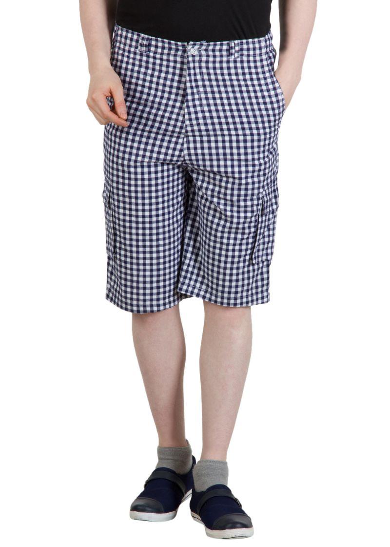 Buy Hypernation Blue And White Checkered Men Shorts online