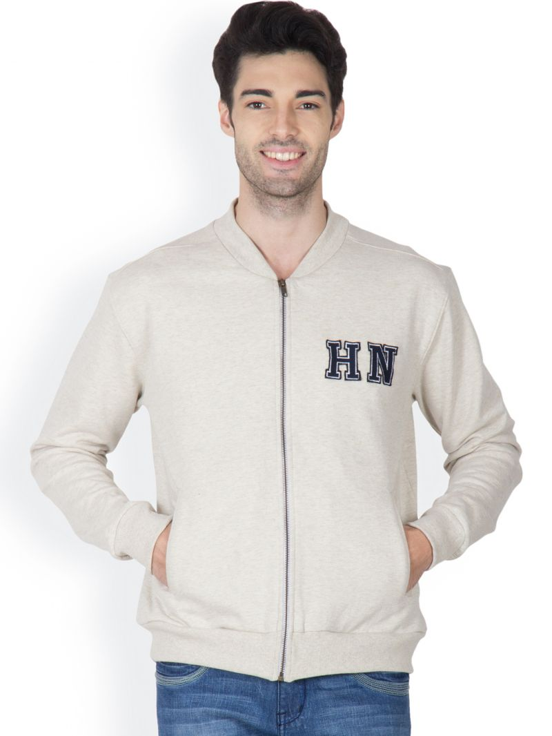 Buy Hypernation Ecru Melange Color Front Open Sweatshirt For Men online
