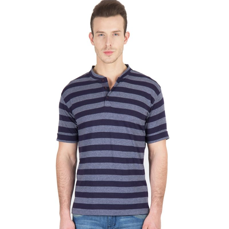 Buy Hypernation Blue And Grey Stripe Henley Neck Half Sleeve Cotton T-shirt online