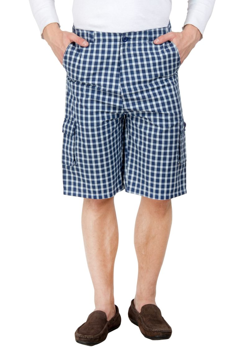 Buy Hypernation Blue And Off White Check Cotton Three Fourth For Men online
