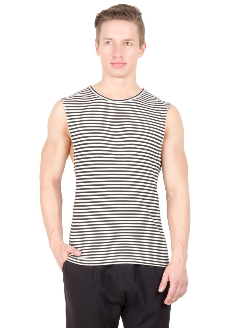 Buy Hypernation Brown And White Stripe Round Neck Cotton Muscle T-shirt For Men online