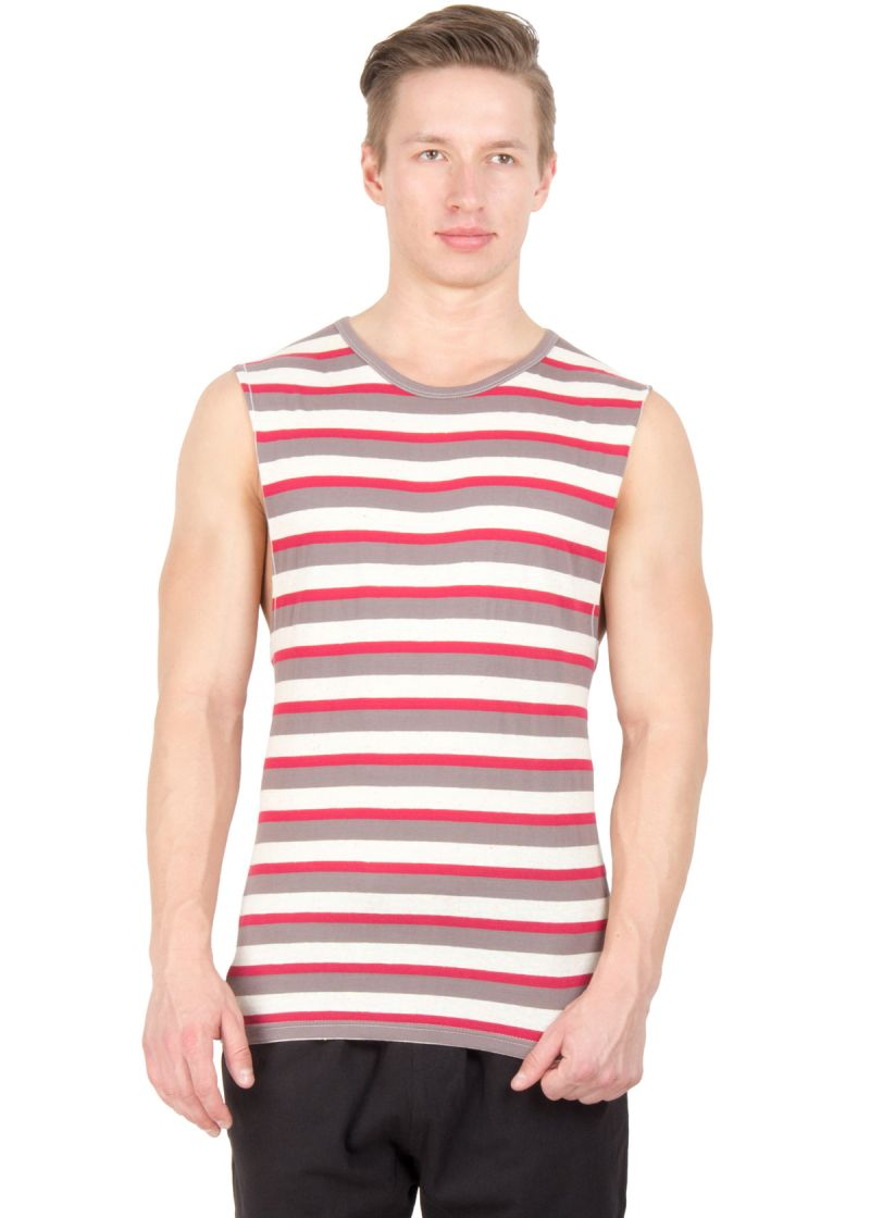 Buy Hypernation Multicolored Stripe Round Neck Cotton Muscle T-shirt For Men online