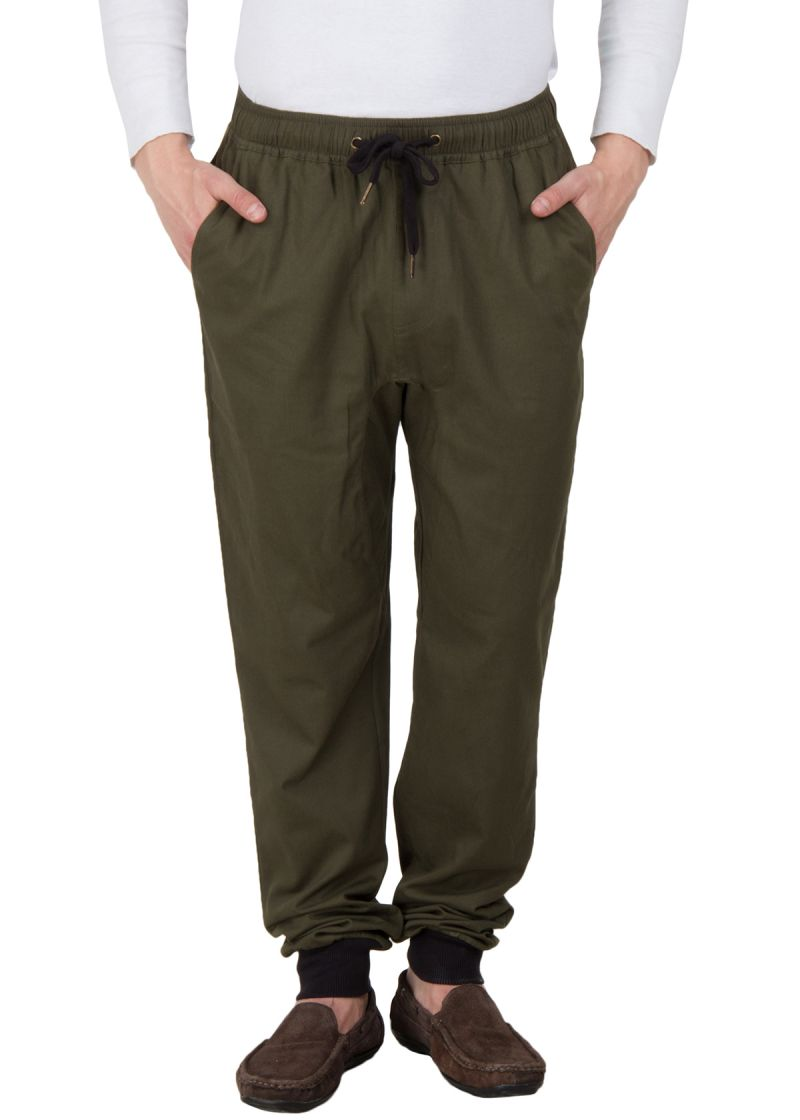 Buy Hypernation Military Green Twil Cotton Joggers online