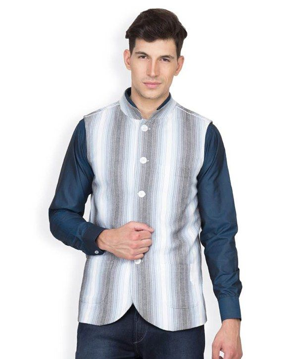 Buy Hypernation White And Blue Stripe Cotton Waistcoat online