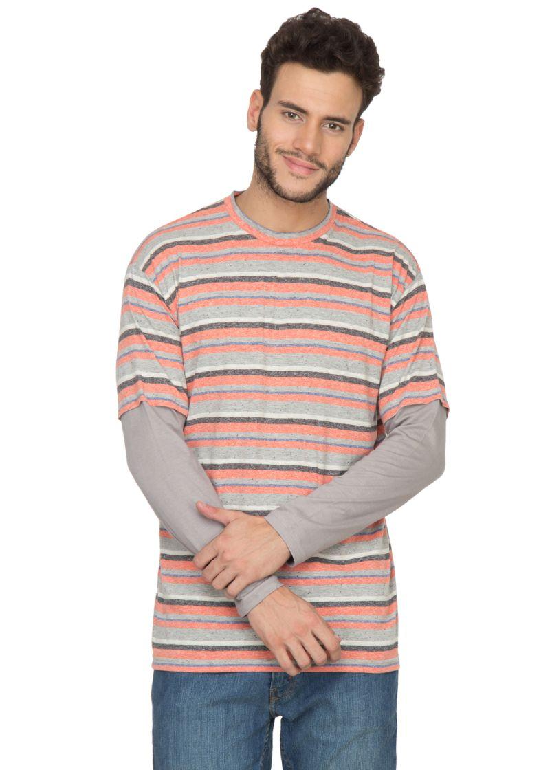 Buy Hypernation Orange And Grey Round Neck Cotton T-shirt online