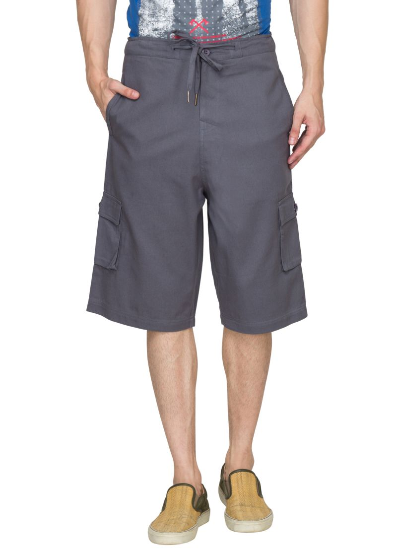 Buy Hypernation Grey 3/4th Cotton Shorts online