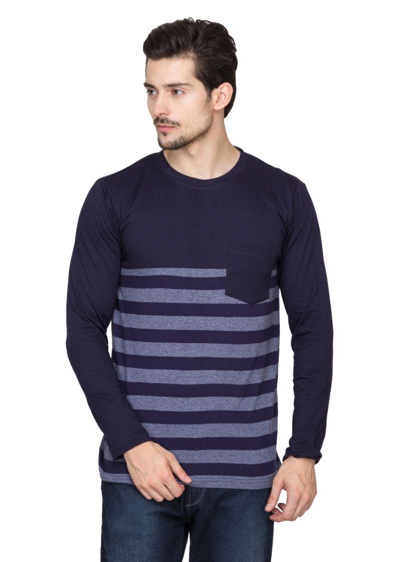 Buy Hypernation Blue And Grey Stripe Round Neck Cotton T-shirt online