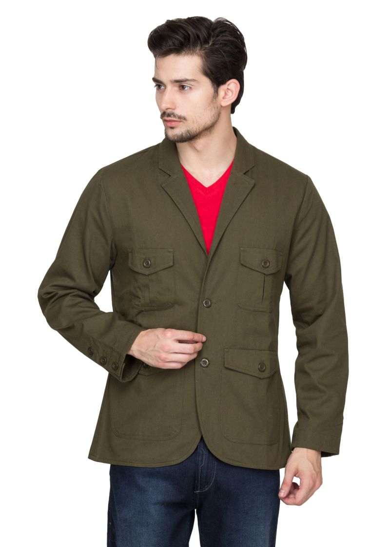Buy Hypernation Military Green Twill Cotton Blazers online