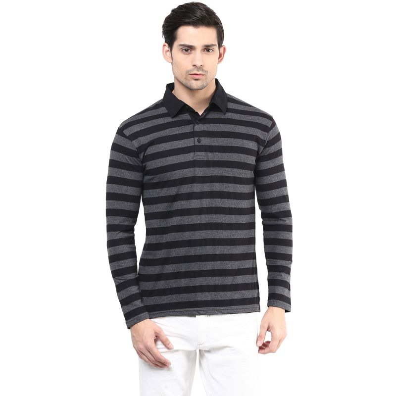 Buy Hypernation Black And Grey Stripe Polo Cotton T-shirt online