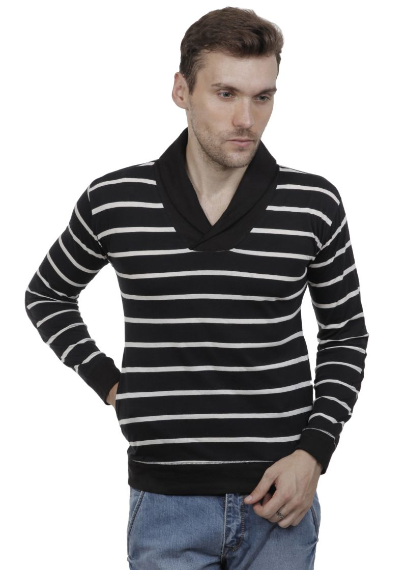 ffe35f691 Buy Hypernation Black And White Color Striped Shawl Collar Cotton Mens T-shirt  online